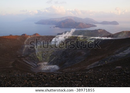 view from the top of Grand Crater early morning,  island Volcano, Lipari Islands, south Italy , Europe - stock photo