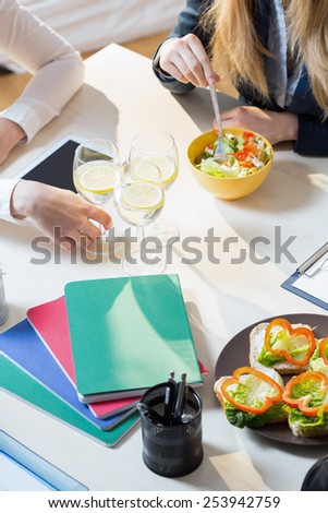 View from the top of lunch during business meeting - stock photo
