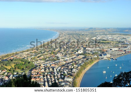 View from the top of Mount Maunganui, north island, New Zealand - stock photo