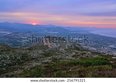View from the top of Mount Montgo at sunset, Denia, Spain - stock photo