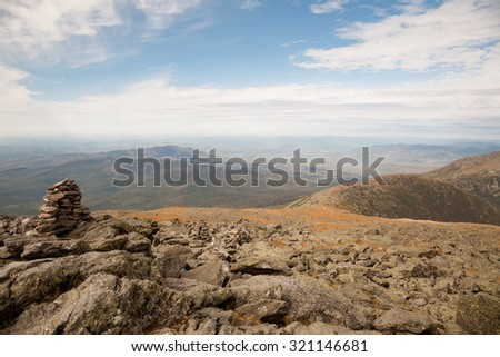 View from the top of Mt Washington in New Hampshire. - stock photo