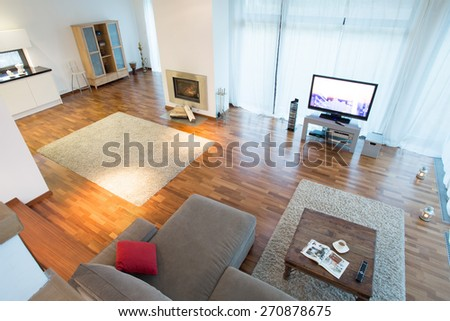View from the top of new elegant living room - stock photo