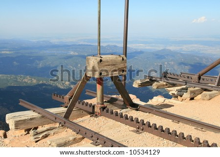 View from the Top of Pike's Peak in Colorado, at the end of the Cog Railroad - stock photo