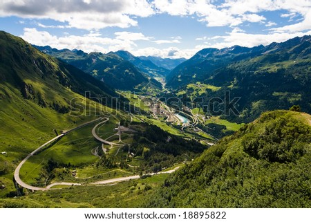 View from the top of Saint Gotthard Pass in Switzerland