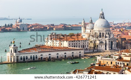 View from the top of San Marco bell tower of roman catholic church Santa Maria della Salute in Venice, Italy.