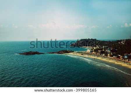 View from the top of the beach in Kovalam. Kerala, India