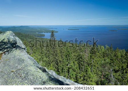 View from the top of the Koli national park to lake Pielinen - stock photo