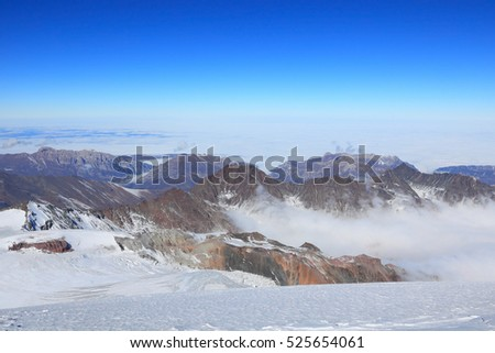 view from the top of the mount Kazbek to north