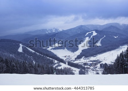 View from the top of the mountain in Bukovel - ski resort in Ukraine. Near Ivano-Frankivsk.