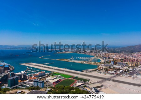 View from the top of the rock of Gibraltar on the city - stock photo