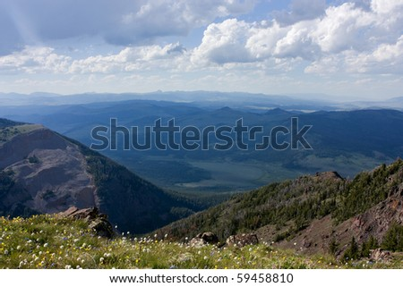 View from the top of the Sawtelle Mountains, Island Park Idaho - stock photo