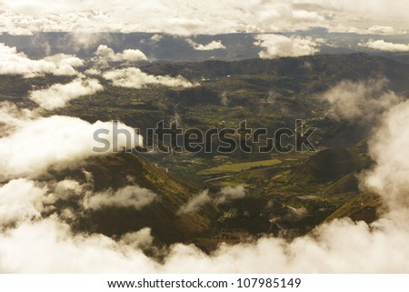 View from the top of Tungurahua volcano in Ecuador. About 4200m altitude where the photo was taken. - stock photo