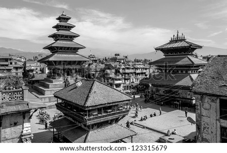 View from the top point on the temples of the ancient city of Bhaktapur - Nepal, Himalayas (black and white) - stock photo