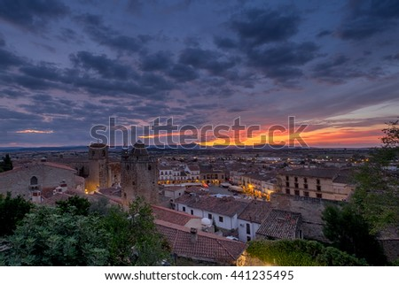 View from the top to the centre of medieval Trujillo town in Spain. - stock photo