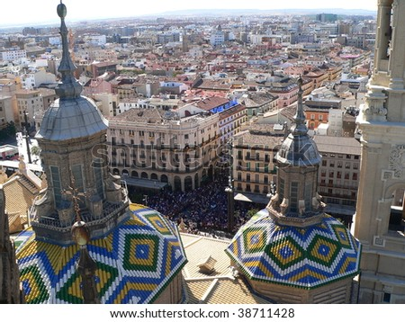 view from the tower of el pilar during the festival