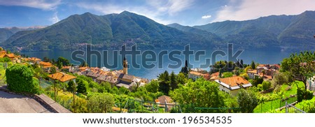 View from the town of Carate Urio, on Lake Como. Alps, Italy. - stock photo