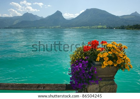 View from the town of St. Wolfgang on to the Wolfgangsee in Austria - stock photo