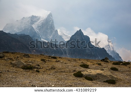 View from the track to the Everest Base Camp - stock photo