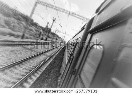 View from the train on a high speed. Monochrome colors - stock photo