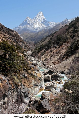 View from the valley to Ama Dablam in Nepal