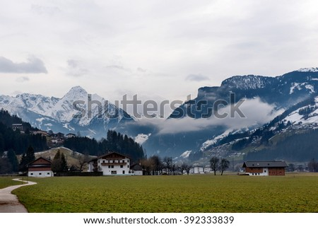 View from the Village Zell am Ziller, in the Zillertal, Austria. - stock photo