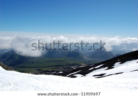 View from the Volcano Villarrica, Pucon, Chile. - stock photo