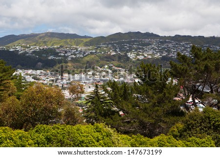 View from the walking trail up Mt Victoria over Wellington, New Zealand - stock photo