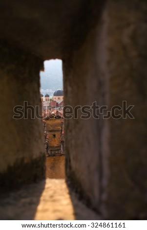 View from the wall of Perast old town, Montenegro - stock photo