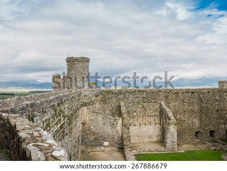 View from the walls of Harlech castle in Wales - stock photo