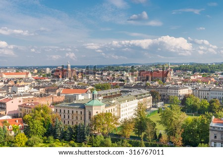 View from the Wawel Castle to Kazimierz and Stradom districts on sunny afternoon, Krakow, Poland.