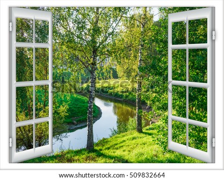 View Window Body Water Tree Summer Stockfoto 509832664