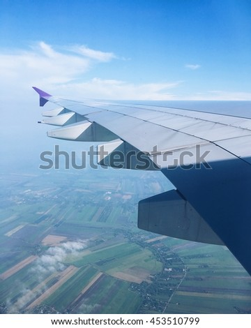View from the window of airplane, travel concept