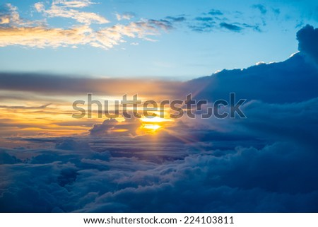 view from the window of an airplane - stock photo