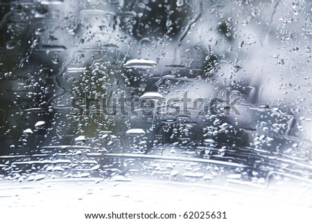 View from the window on a wet winter landscape - stock photo