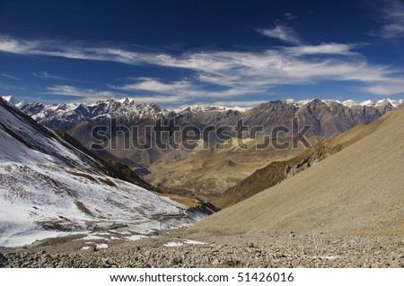 View from Thorung La Pass, Annapuna Conservation Area, Nepal, Asia - stock photo