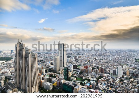 View from Tokyo Metropolitan governmental building - stock photo