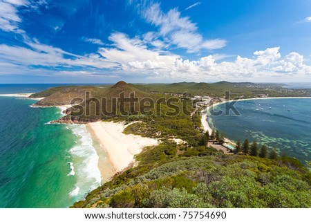 View from Tomaree Head Lookout, New South Wales Australia - stock photo