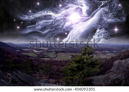 View from top of Appalachian Mountains with ethereal starscape - stock photo