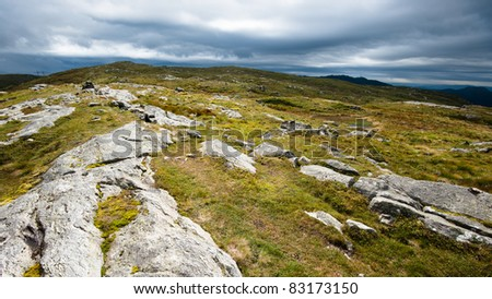 View from top of mountain surrounding Bergen city - stock photo