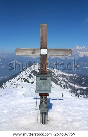 View from top of Rippetegg (2146 m) to north, Austria - stock photo