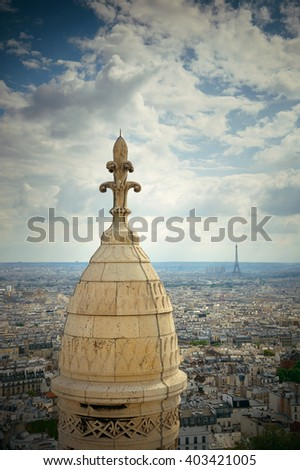 View from top of Sacre Coeur Cathedral and Eiffel Tower in Paris, France. - stock photo