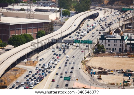 View from top of traffic road in Los Angeles - stock photo