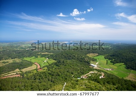 view from Toro Mountain at Menorca island in Spain - stock photo