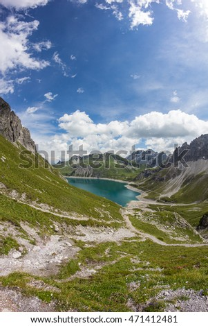 View From Totalp Down To Lake Luenersee In Vorarlberg Austria