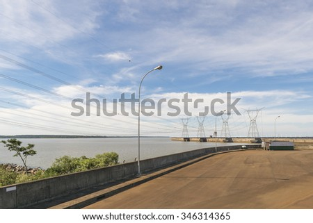 View from touristic bus of Itaipu dam park at the brazilian border.