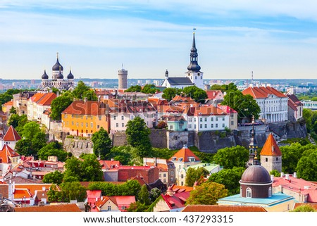 View from tower of Saint Olaf Church on old city of Tallinn and roofs of old houses. Tallinn, Estonia. - stock photo