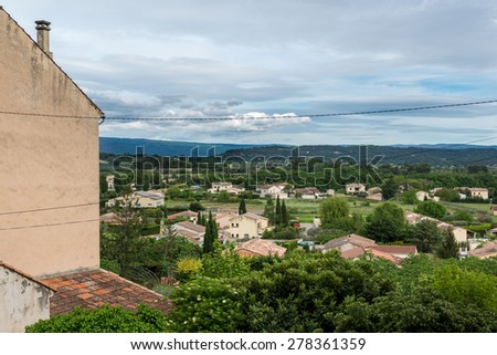 View from town between house in Gordes - Provence, France
