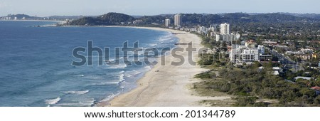 View from Tumgun Lookout overlooking Tallebudgera Creek, Palm Beach and the southern Gold Coast, Australia - stock photo
