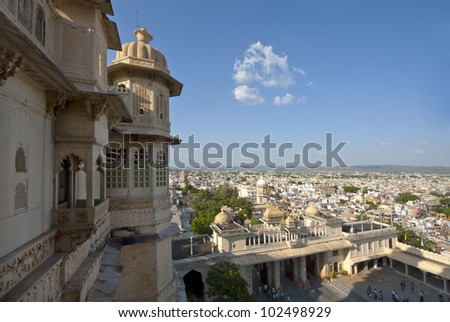View from Udaipur City Palace, Rajasthan, India - stock photo