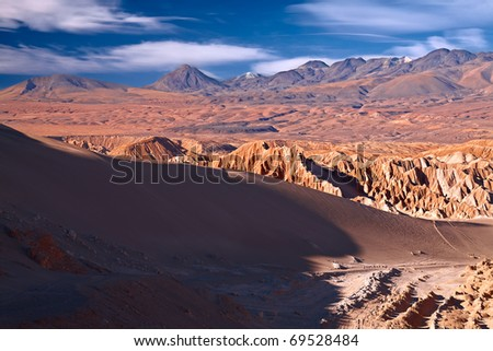 view from Valle de la Muerte (Death Valley) on the dune and Andes, Atacama desert, Chile - stock photo